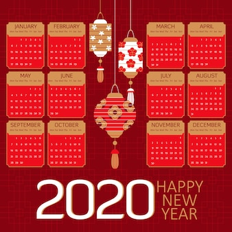 Flat chinese new year calendar and red paper lanterns