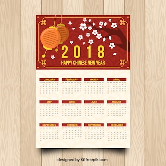Flat chinese new year calendar with illustration