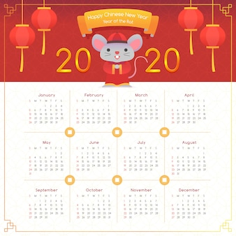 Flat chinese new year calendar with lights