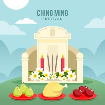 Illustrazione di celebrazione del festival piatto ching ming