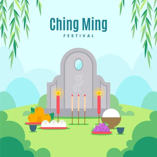 Flat ching ming festival celebration illustration