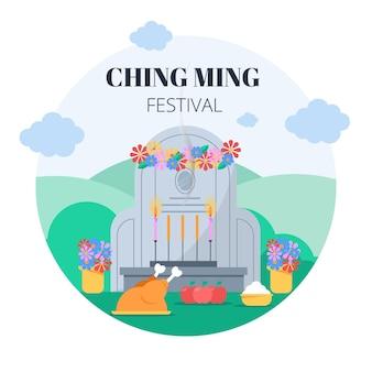 Плоская иллюстрация фестиваля цзин мин