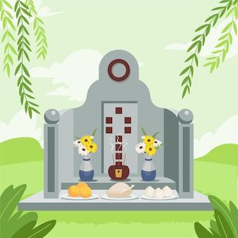 Flat ching ming festival illustration