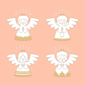 Flat christmas angel pack