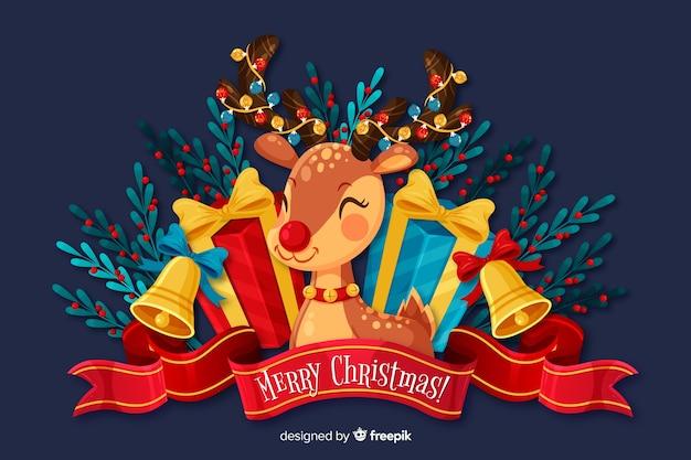 Плоский новогодний фон и милый олень
