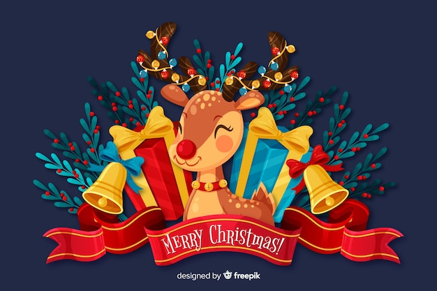 Flat christmas background and cute deer