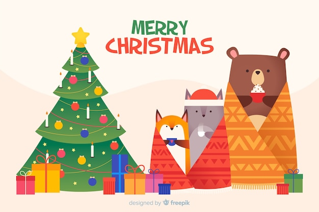Flat christmas background with animals