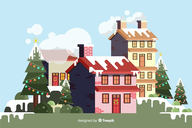 Flat christmas background with buildings covered in snow