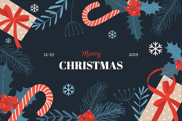 Flat christmas background with candy canes