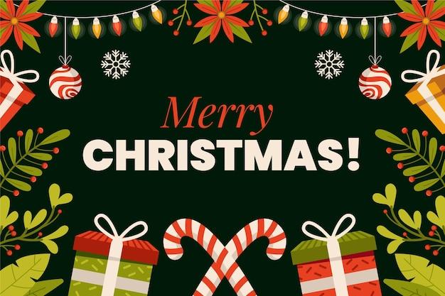 Плоский новогодний фон с подарками