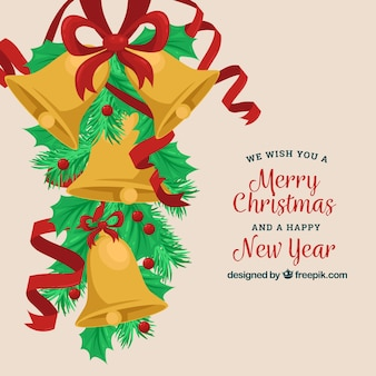 Flat christmas background with golden bells
