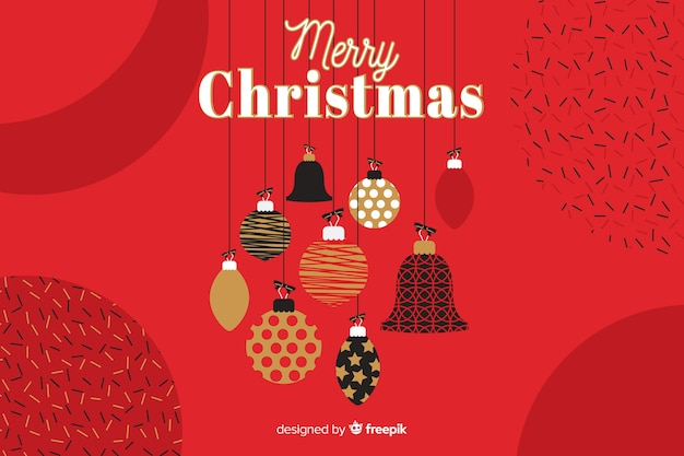 Flat christmas background with greeting