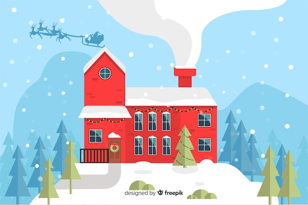 Flat christmas background with house ready for xmas