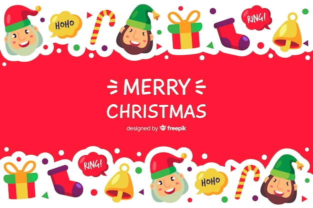 Flat christmas background with merry christmas