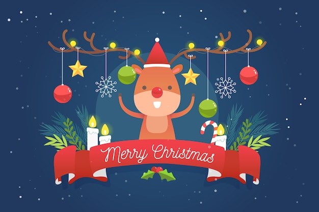 Flat christmas background with reindeer
