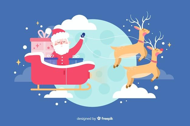 Плоский новогодний фон с дедом морозом и оленями