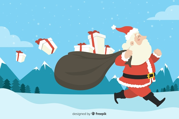 Flat christmas background with santa claus carrying gifts