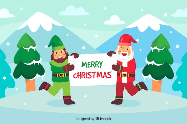 Flat christmas background with santa claus and elf