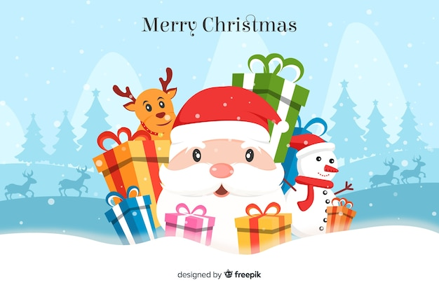 Flat christmas background with santa claus and gifts