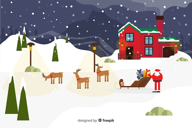 Flat christmas background with santa claus and reindeers