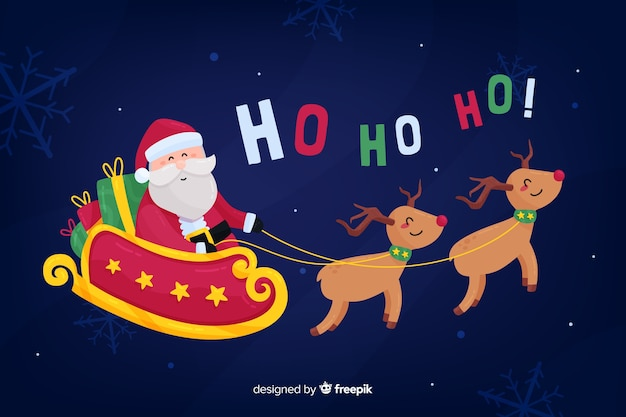 Flat christmas background with santa claus riding sledge