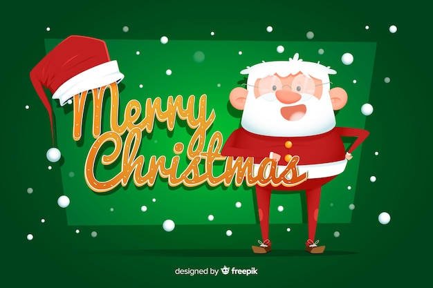 Flat christmas background with santa claus
