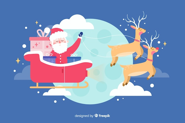 Flat christmas background with santa and deers