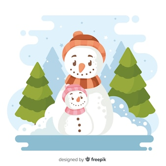 Flat christmas background with snowman