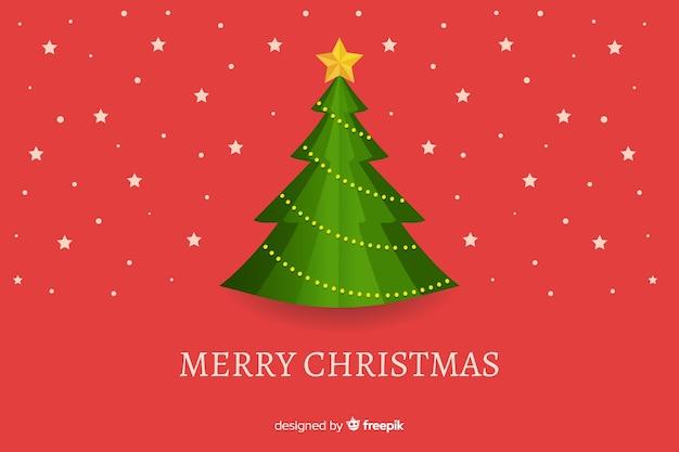 Flat christmas background with xmas tree