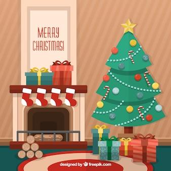 평면 크리스마스 배경