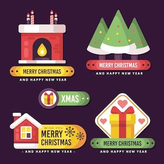 Плоский рождественский значок ассортимента