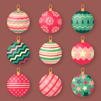 Flat christmas ball ornaments collection