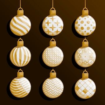 Flat christmas ball ornaments pack