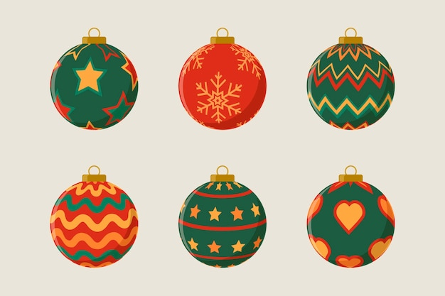 Flat christmas ball ornaments pack