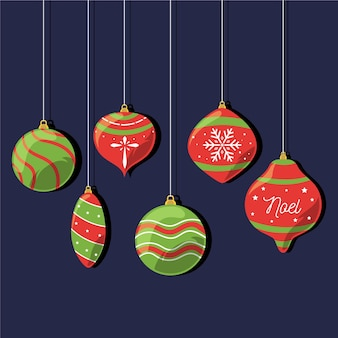 Flat christmas ball ornaments