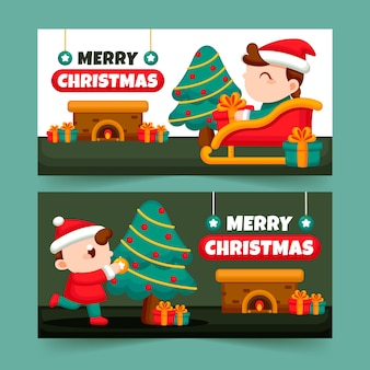 Flat christmas banners pack