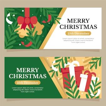 Flat christmas banners template