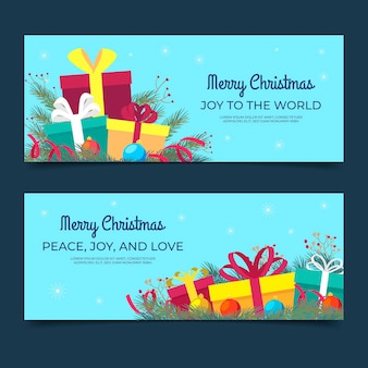 Плоские рождественские баннеры шаблон
