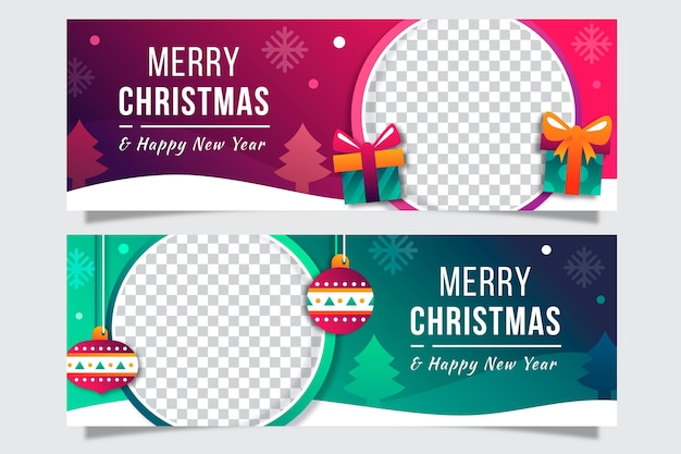 Flat christmas banners template
