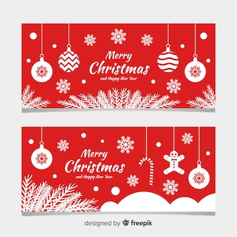 Flat christmas banners with flat design