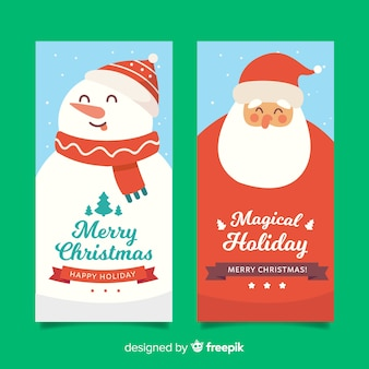 Flat christmas banners with santa claus and snowman