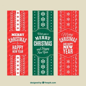 Flat christmas banners with white decoration