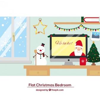 フラットクリスマス寝室