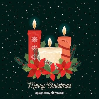 Flat christmas candle background