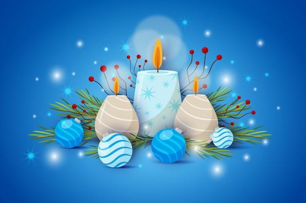 평면 크리스마스 촛불 배경