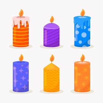 평면 크리스마스 촛불 컬렉션