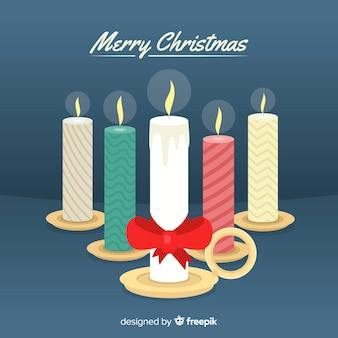 Flat christmas candle group background