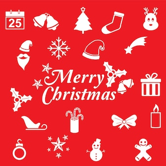 Flat christmas card  with cute christmas icon red background