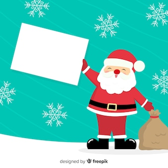 Flat christmas character holding white empty card