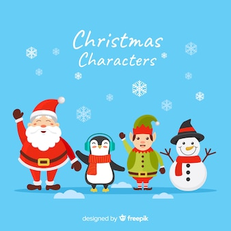 Flat christmas characters collection and snowflakes
